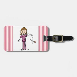 Figura femenina enfermera del palillo del pelo de  etiquetas de equipaje