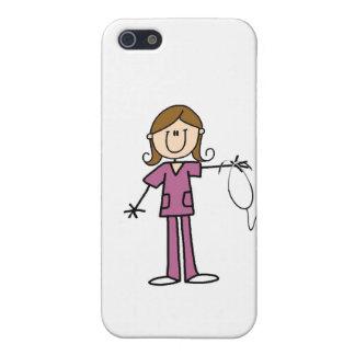 Figura femenina enfermera del palillo del pelo de  iPhone 5 cárcasas