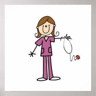Figura femenina enfermera del palillo del pelo de  póster