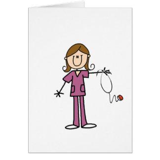 Figura femenina enfermera del palillo del pelo de  tarjeta pequeña