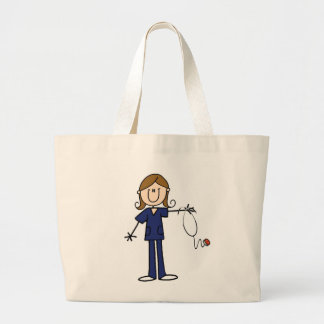 Figura femenina enfermera del palillo del uniforme bolsa tela grande