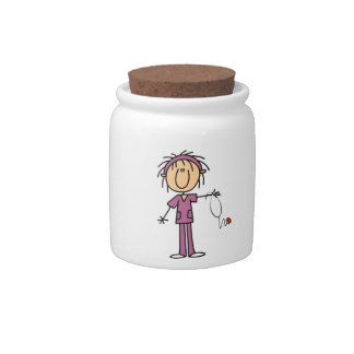 Figura femenina enfermera del palillo jarra para caramelo
