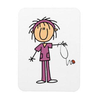 Figura femenina enfermera del palillo rectangle magnet