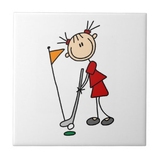 Figura femenina golfista del palillo azulejo cuadrado pequeño