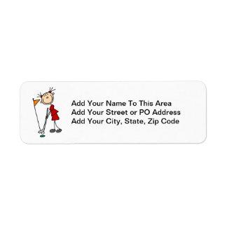 Figura femenina golfista del palillo etiqueta de remitente