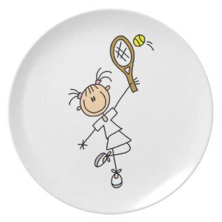 Figura femenina jugador de tenis del palillo plato de comida