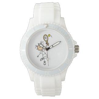 Figura femenina jugador de tenis del palillo relojes de pulsera