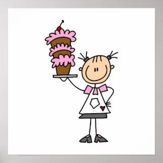 Figura femenina panadero del palillo póster