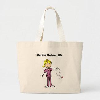 Figura femenina rubia camisetas del palillo de la  bolsa tela grande