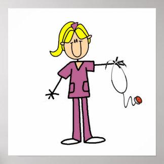 Figura femenina rubia camisetas del palillo de la  posters