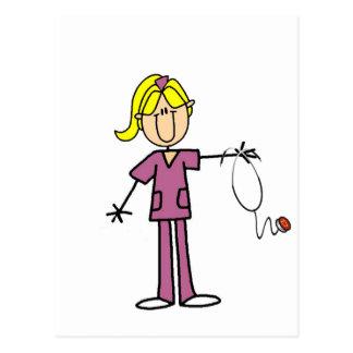 Figura femenina rubia camisetas del palillo de la postales
