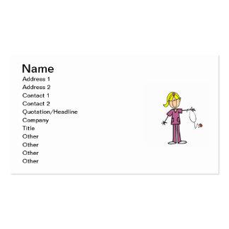 Figura femenina rubia camisetas del palillo de la tarjetas de visita