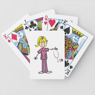 Figura femenina rubia enfermera del palillo baraja de cartas bicycle