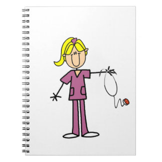 Figura femenina rubia enfermera del palillo libros de apuntes con espiral