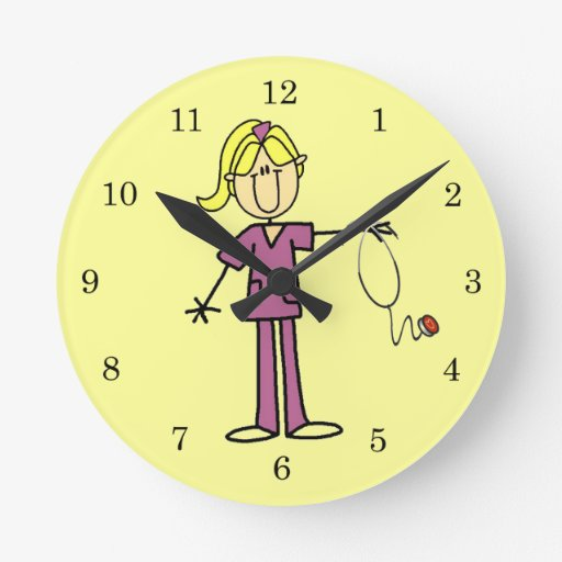 Figura femenina rubia enfermera del palillo reloj
