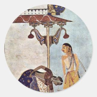 Figura femenina y masculina del manuscrito de pegatina redonda