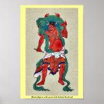 Figura hindú con halo verde detrás de su cabeza impresiones