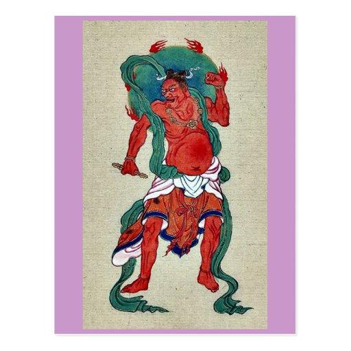 Figura hindú con halo verde detrás de su cabeza tarjetas postales