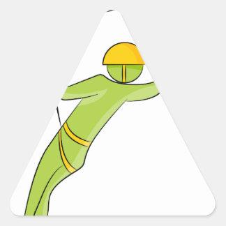 Figura icono del palillo del jinete de Zipline Pegatina Triangular