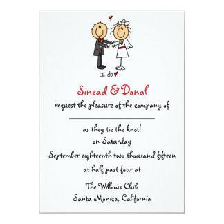 Figura invitación del palillo del boda