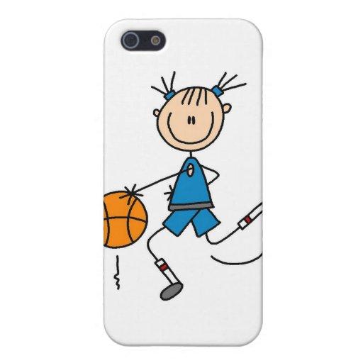 Figura jugador de básquet del palillo del chica iPhone 5 fundas