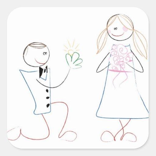 Figura linda cuadrado del palillo de novia y del pegatina cuadrada