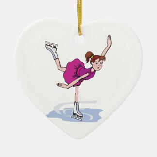figura linda giro de la niña del patinador adorno navideño de cerámica en forma de corazón