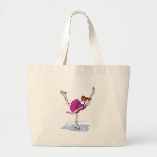figura linda giro de la niña del patinador bolsa tela grande