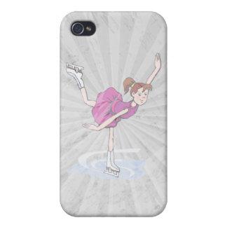 figura linda giro de la niña del patinador iPhone 4 carcasas