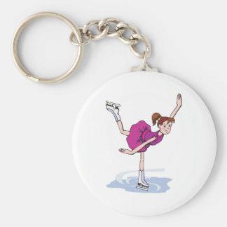 figura linda giro de la niña del patinador llavero redondo tipo pin