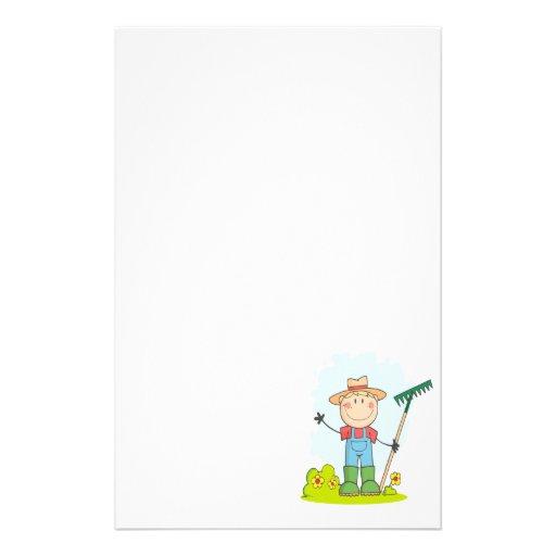 figura linda granjero del palillo del jardinero de papelería