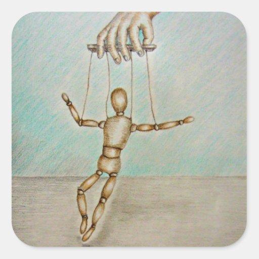 Figura marioneta pegatina cuadrada
