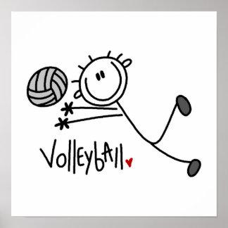 Figura masculina básica voleibol del palillo póster