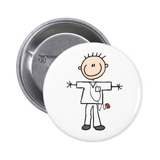 Figura masculina botón del palillo de la enfermera pin