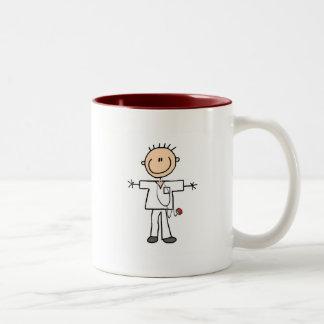 Figura masculina camisetas y regalos del palillo taza de dos tonos
