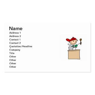 Figura masculina cocinero del palillo tarjetas de visita