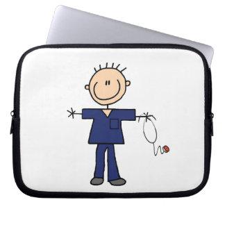 Figura masculina enfermera - azul del palillo manga portátil