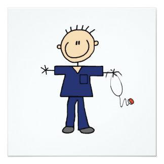 """Figura masculina enfermera - azul del palillo invitación 5.25"""" x 5.25"""""""