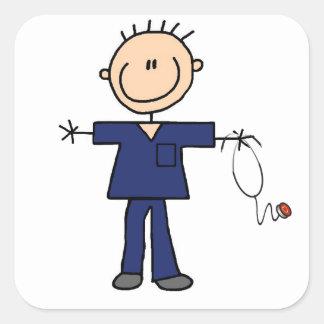 Figura masculina enfermera - azul del palillo pegatina cuadrada