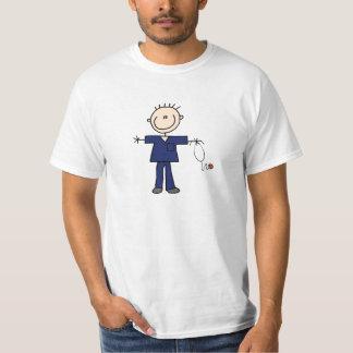 Figura masculina enfermera - azul del palillo poleras