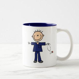 Figura masculina enfermera - azul del palillo taza de dos tonos