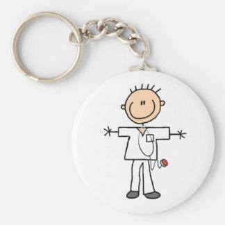 Figura masculina enfermera del palillo llavero redondo tipo pin