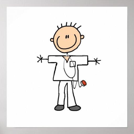 Figura masculina enfermera del palillo póster