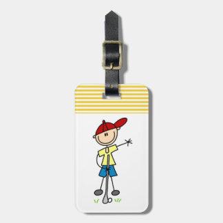 Figura masculina golfista del palillo etiqueta de maleta