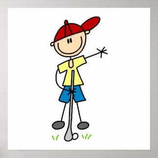 Figura masculina golfista del palillo póster