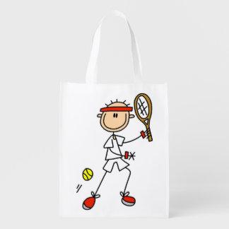 Figura masculina jugador de tenis del palillo bolsa para la compra