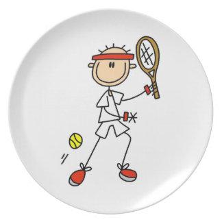 Figura masculina jugador de tenis del palillo platos de comidas