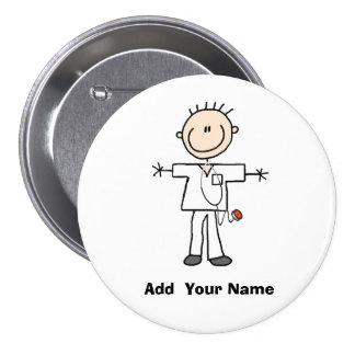 Figura masculina personalizada botón del palillo d pin redondo de 3 pulgadas