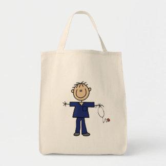 Figura masculina piel del palillo del medio de la bolsa tela para la compra