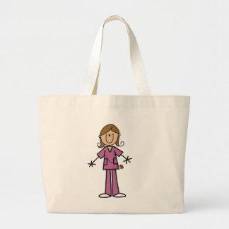 Figura media enfermera de sexo femenino del palill bolsa tela grande